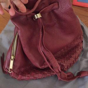 Leather drawstring bag